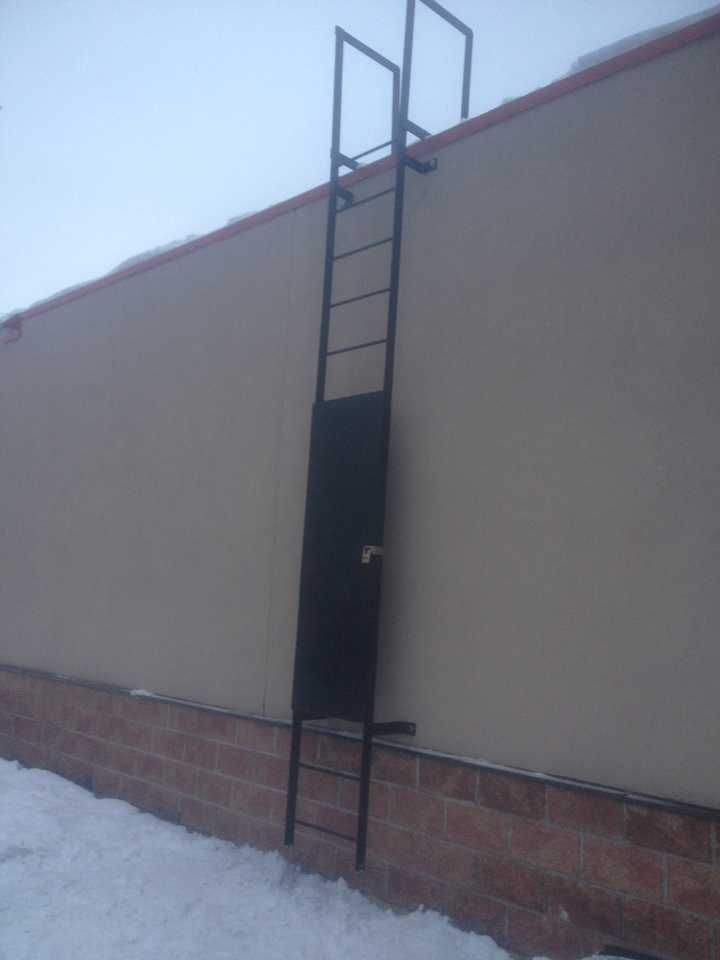 Mulligan Center 14 Foot Roof Access Ladder With Security