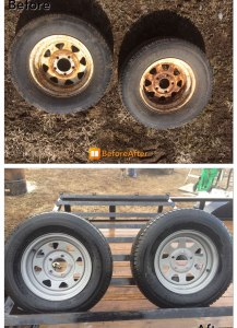 Wheel rims before and after sandblasting