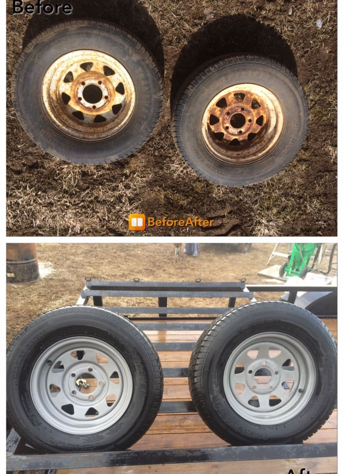 Wheel rims before and after dustless blasting